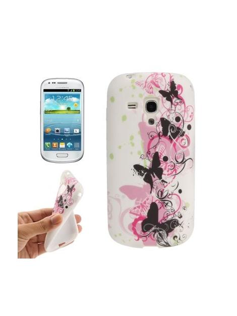Štýlové TPU ochranné púzdro na  Samsung Galaxy SIII mini / i8190 - pink butterfly