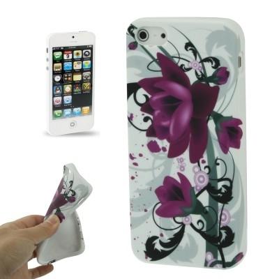 Štýlové TPU ochranné púzdro pre iPhone 5 & 5S - purple flowers