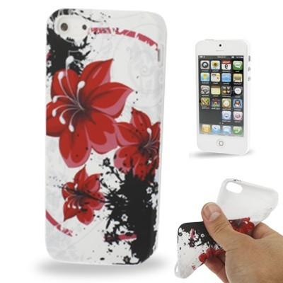 Štýlové TPU ochranné púzdro pre iPhone 5 & 5S - red flowers