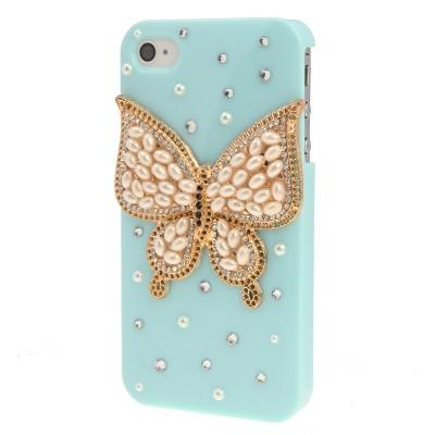 Kryt pre iPhone4/4S - Butterfly- blue