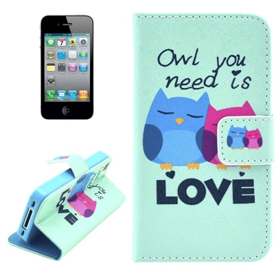 Kožené púzdro pre iPhone4/4S - Owls in Love