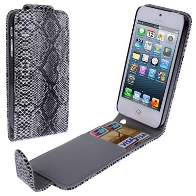 Diárové kožené púzdro pre iPhone 5/5S s hadím povrchom