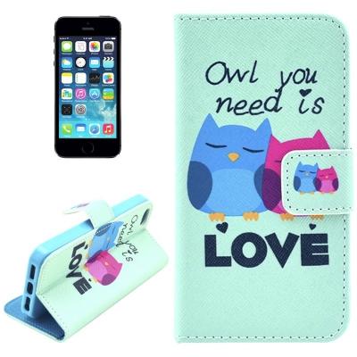 Kožené púzdro pre iPhone 5/5S- owls in love