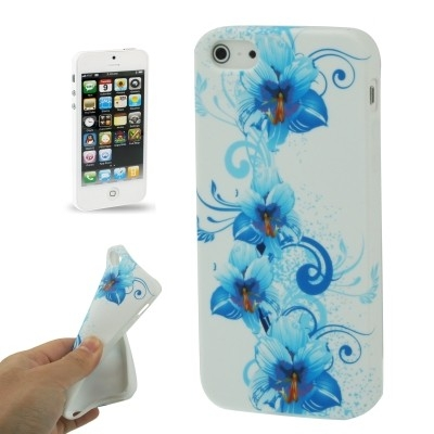 Štýlové flexi  ochranné púzdro pre iPhone 5 & 5S - blue flowers