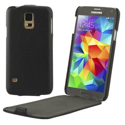 Samsung Galaxy S5- Vkusné kožené púzdro - čierne