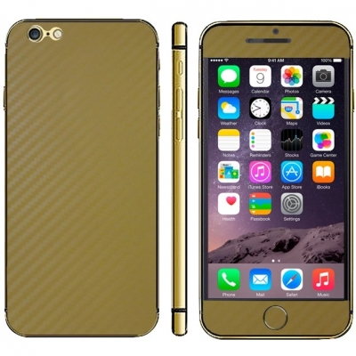 Karbónová fólia pre iPhone 6 - gold