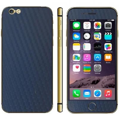 Karbónová fólia pre iPhone 6 - dark blue