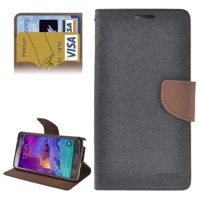 Elegantné kožené púzdro pre Samsung Galaxy Note 4 - black and coffee
