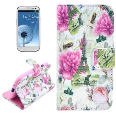 Kožené púzdro pre Samsung Galaxy S3/i9300 - Eiffel Tower with Flowers