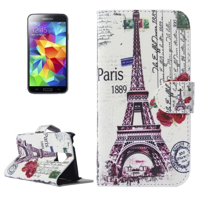 Kožené púzdro pre Samsung Galaxy S5 mini/G800-  Eiffel Tower