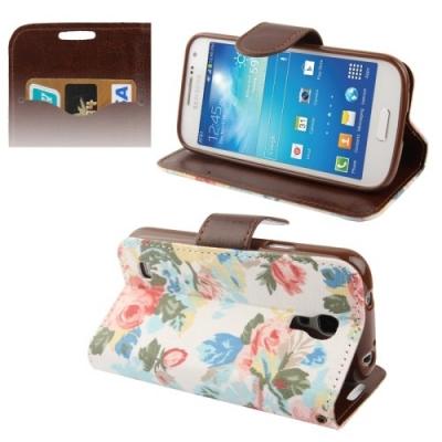 Kožené púzdro pre Samsung Galaxy S IV mini / i9190- Flowers white