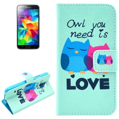 Kožené púzdro pre Samsung Galaxy S5- Owls in Love