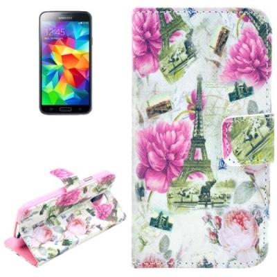 Kožené púzdro pre Samsung Galaxy S5- Eiffel Tower Flowers