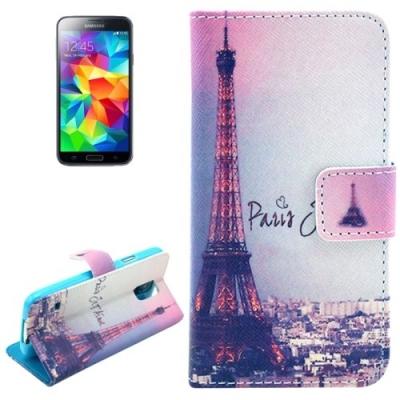 Kožené púzdro pre Samsung Galaxy S5mini- Eiffel Tower