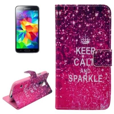 Kožené púzdro pre Samsung Galaxy S5mini-Keep Calm