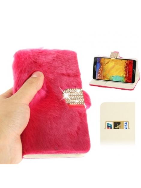 Diamantové púzdro s kožušinkou pre Samsung Galaxy N III / N9000 - pink