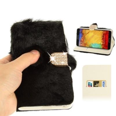 Diamantové púzdro s kožušinkou pre Samsung Galaxy N III / N9000 - black