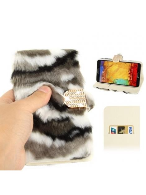 Diamantové púzdro s kožušinkou pre Samsung Galaxy N III / N9000 - camouflage