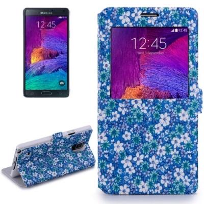 Dizajnové kožené púzdro pre Samsung Galaxy Note4 / N910 - Flowers blue