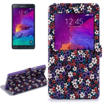 Dizajnové kožené púzdro pre Samsung Galaxy Note4 / N910 - Flowers purple