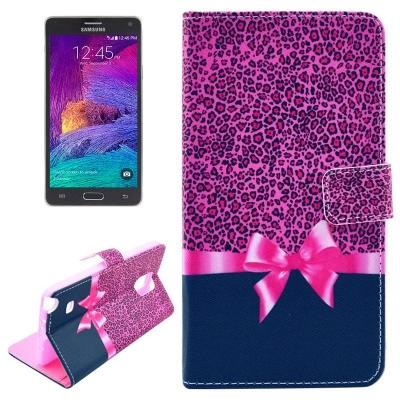 Kožené púzdro pre Samsung Galaxy Note 4 - Leopard pink