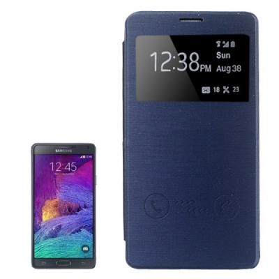 Dizajnové kožené púzdro pre Samsung Galaxy N 4 / N910 - dark blue
