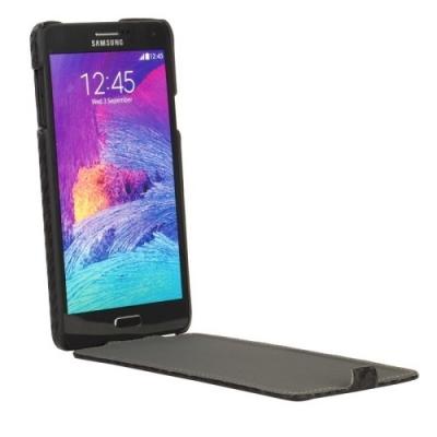 Kožené púzdro pre Samsung Galaxy Note4 / N910- black- karbónové vlákno