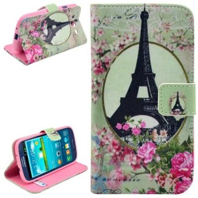 Kožené púzdro pre Samsung Galaxy S3/i9300 - Eiffel Tower with Roses