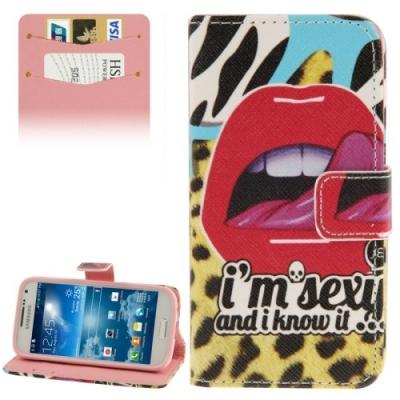 Kožené púzdro pre Samsung Galaxy S IV mini / i9190- Sexy Lips