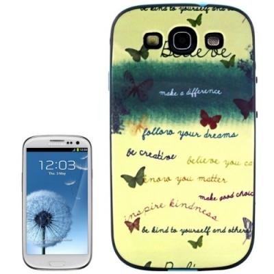 Ochranný kryt s rámom pre Samsung Galaxy SIII/i9300- Words and Butterfly