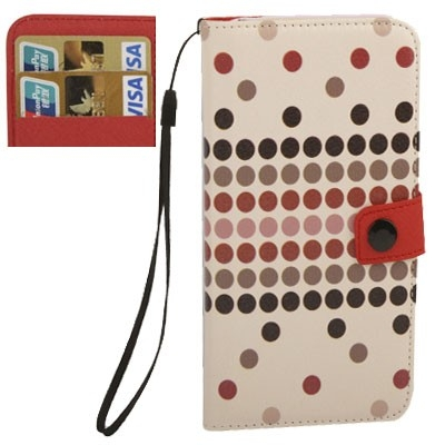 Kožené púzdro pre iPhone4/4S - Colourful Dots- pink