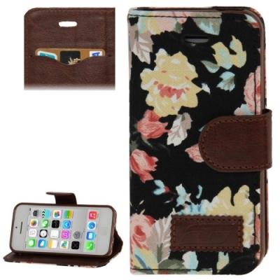 Kožené púzdro pre iPhone 5C- roses- black