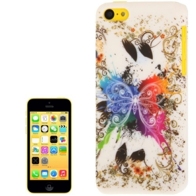 Ochranný kryt pre iPhone 5C- Colourful Butterfly- white