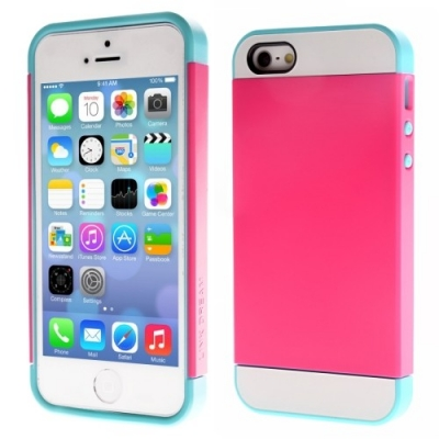 Ochranný kryt s flexi rámom pre iPhone 5/5S  - dark pink and blue