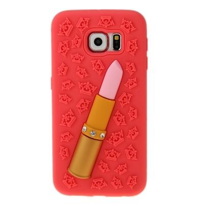 Silikónový 3D kryt s rúžom Samsung Galaxy S6/G920 - Červený