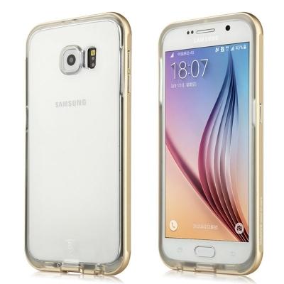 Ochranný plastový kryt s kovovým rámom Baseus Fusion Series na Samsung Galaxy S6/G920 - Zlatý
