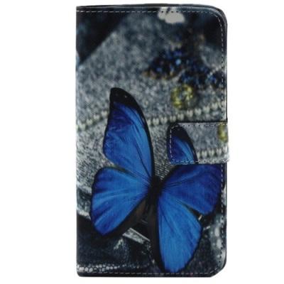 Kožené púzdro pre LG G2 - Blue Butterfly