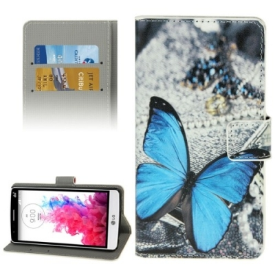 Kožené púzdro pre LG G3 mini - Blue Butterfly