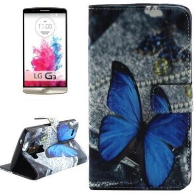 Kožené púzdro pre LG G3 - Blue Butterfly