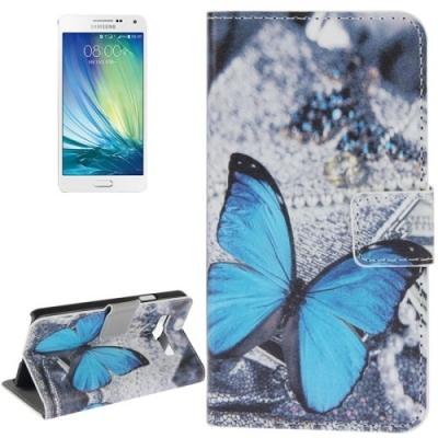Kožené púzdro pre Samsung Galaxy A5 - Blue Butterfly