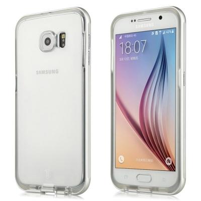 Ochranný plastový kryt s kovovým rámom Baseus Fusion Series na Samsung Galaxy S6/G920 - Strieborný