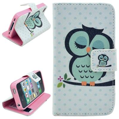 Kožené púzdro pre iPhone4/4S - Owl Pattern