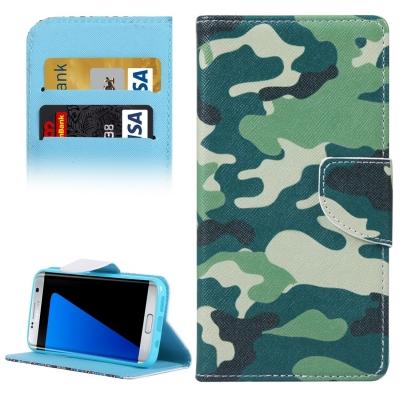 Kožené púzdro s motívom pre Samsung Galaxy S7 edge - Camouflage