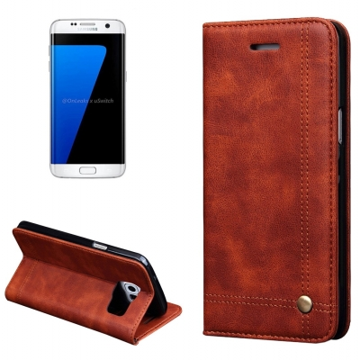 Elegantné kožené púzdro pre Samung Galaxy S7 edge - coffee