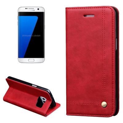 Elegantné kožené púzdro pre Samung Galaxy S7 edge - červené