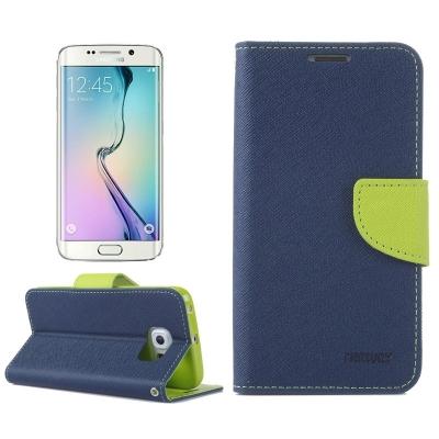 Elegantné puzdro litchi pre Samsung Galaxy S6 edge - Dark blue