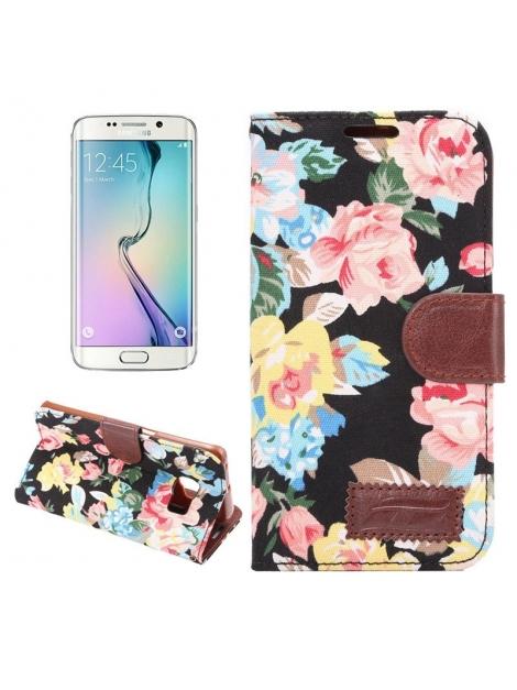 Diárové púzdro pre Samsung Galaxy S6 edge - Floral black