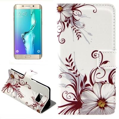 Kožené púzdro pre Samsung Galaxy S6 edge plus - Flower