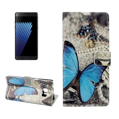 Kožené púzdro pre Samsung Galaxy Note 7 - Blue Butterfly