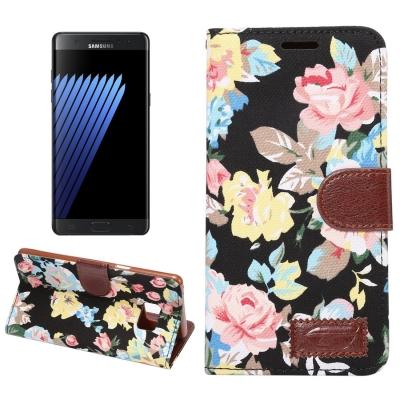 Kožené púzdro pre Samsung Galaxy Note 7 - Flower black